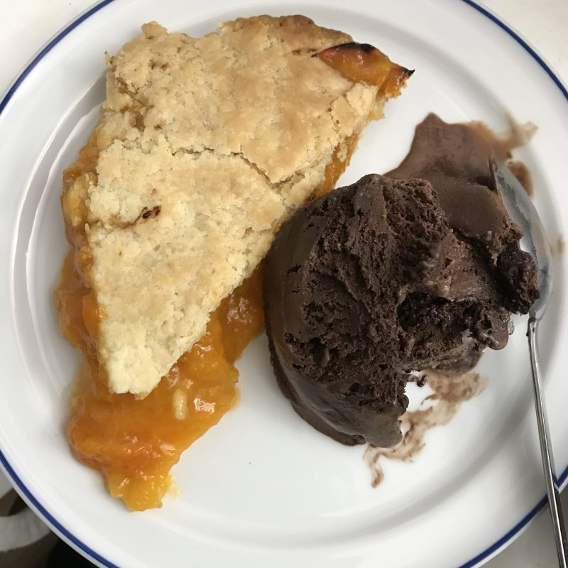 Aprium (apricot-plum cross) pie with chocolate ice cream