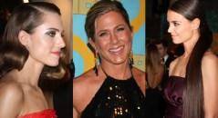 Las actrices Allison Williams, Jennifer Aniston y Katie Holmes en los Globos de Oro.