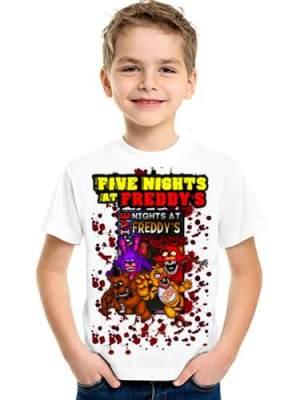 Five Nights At Freddy Remeras Blancas Manga Corta