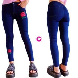 Jeans Mujer Tiro Alto Elastizado Chupin Bordado Premium