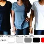 Remeras Mujer Escote V X 10 Pack  Algodon 30/1 Premium