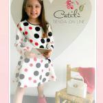Vestido Cassual Nenas Manga Larga  Lunares Princesa T4 Al 14