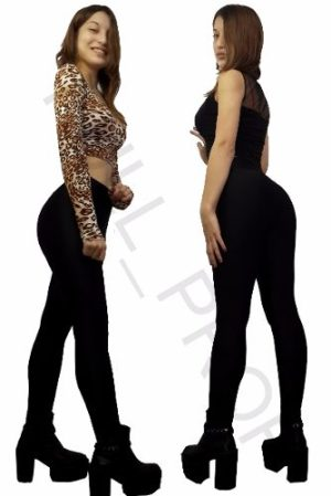 Calza Leggings Chupin Negras Brillosas 100 % Lycra Premium