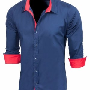 Camisa Dorian Slim Fit Combinada Manga Larga