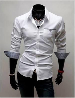 Camisas Hombre Entalladas Slim Fit Vestir Casual Manga Larga