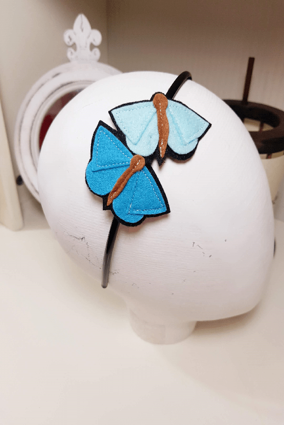 diademas con mariposas de fieltro