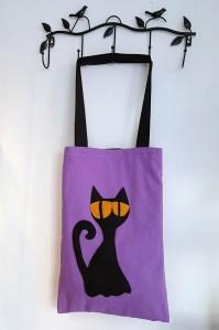 bolso de tela gato negro