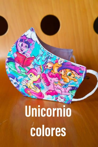 mascarilla de tela unicornio colores
