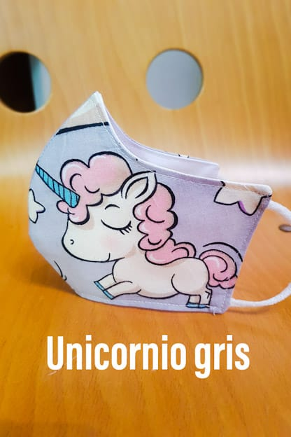 mascarilla de tela reutilizable Unicornio gris