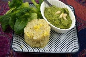 Feldsalat-Pesto und Zitronen-Risotto