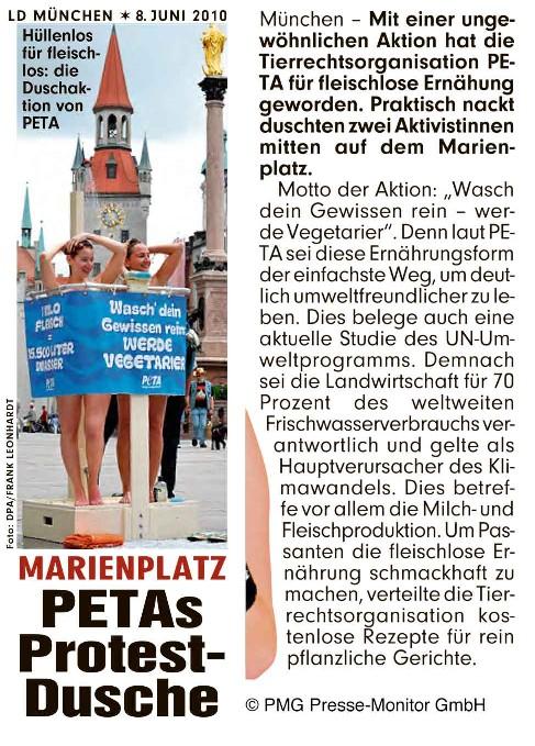 Stephanie Weiser, T!erLaut bei der PETA Dusch Demo in München