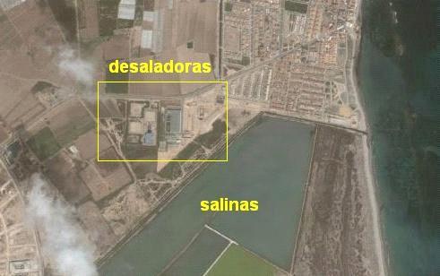 Cercanía de las desaladoras a las salinas en San Pedro del Pinatar.