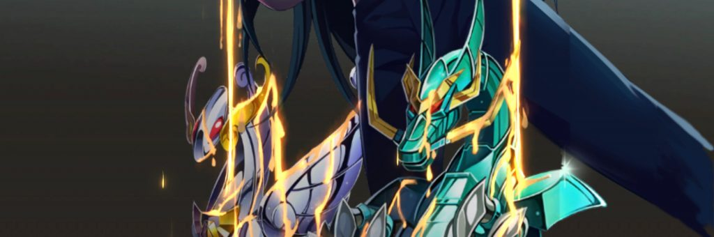 Shryu arreglando las armaduras de Pegaso y el Dragón en el juego Saint Seiya Awakening: Knight Of The Zodiac