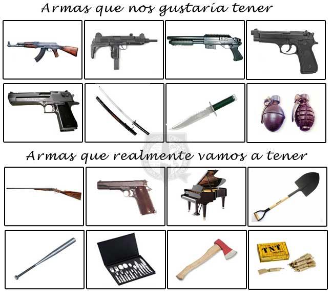 Armas para sobrevivr a un Apocalipsis Zombie