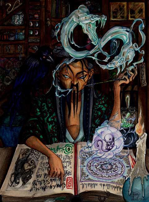 Ilustraciones de fantasía - Brujo por Jennifer Giner
