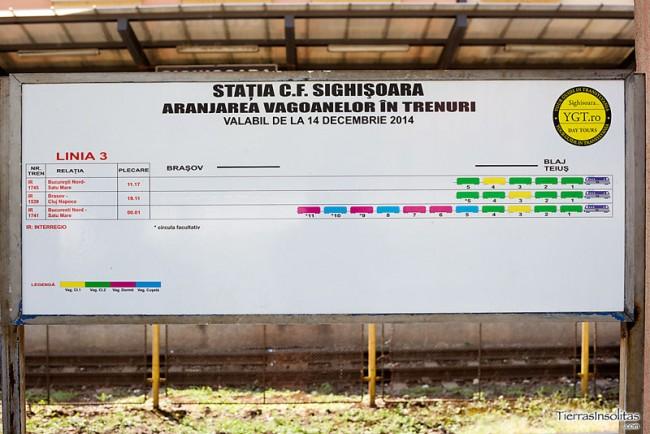 panel informativo viajar en tren por rumanía