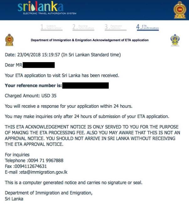 confirmación solicitud visado sri lanka