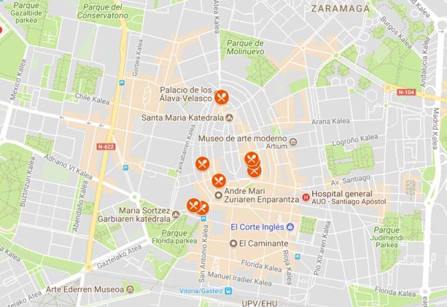 mapa ruta pintxos de vitoria-gasteiz