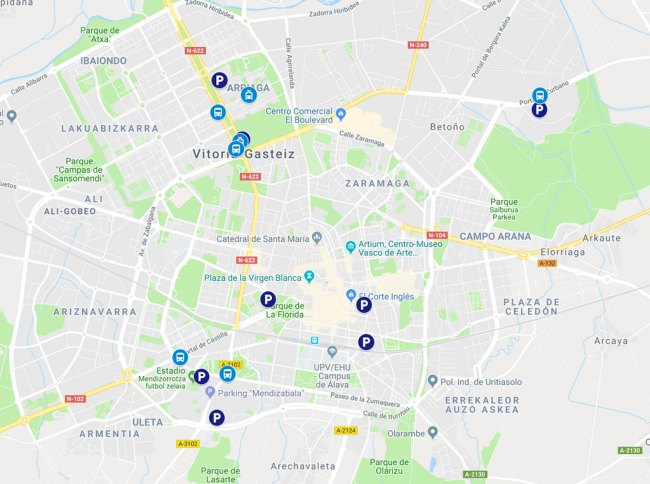 mapa aparcamientos gratis en vitoria-gasteiz