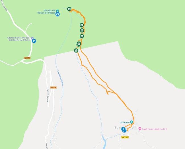 mapa ruta nacedero del urederra desde baquedano