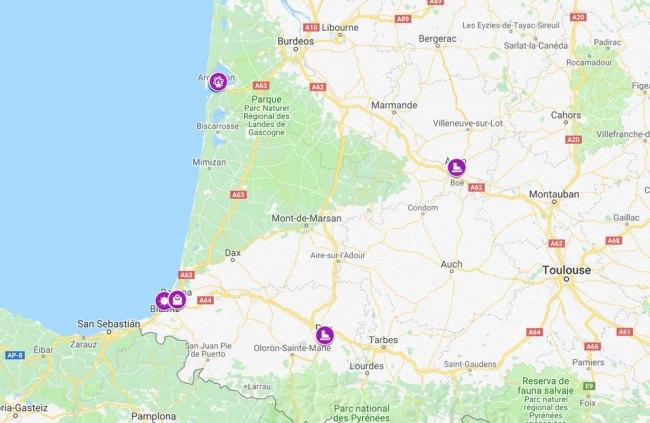 mapa mercadillos navideños nueva aquitania