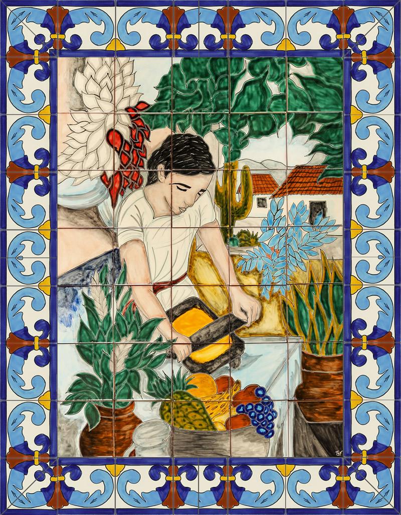 grinding woman ceramic tile mural