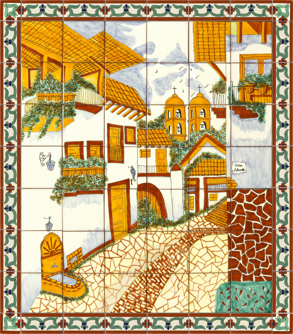 san miguel street ceramic tile mural