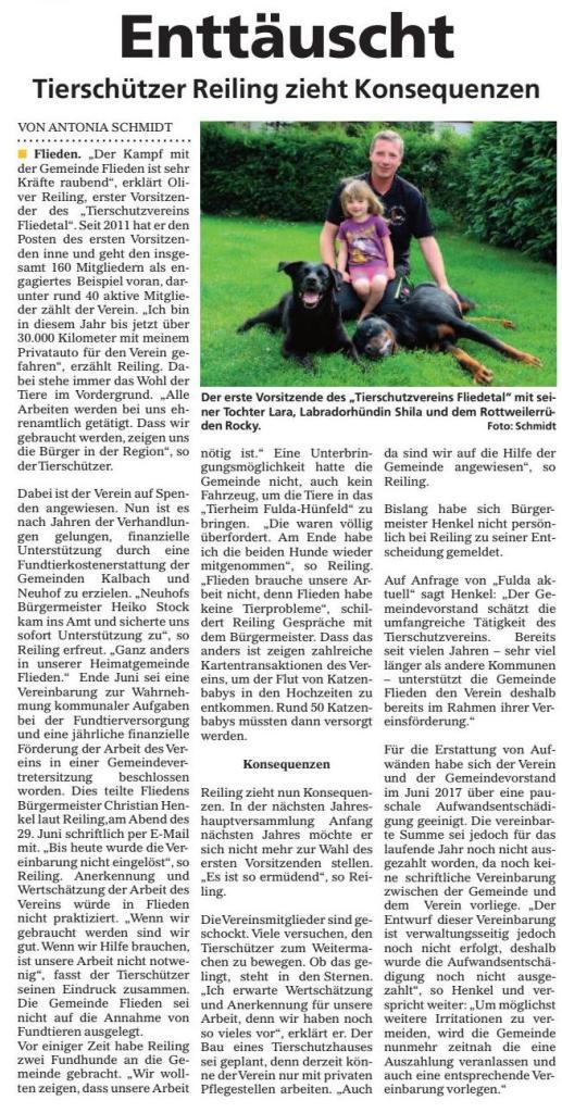 Artikel in der Fulda Aktuell vom 28./29.10.2017