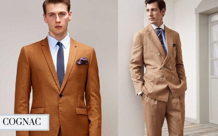 winter suit color cognac