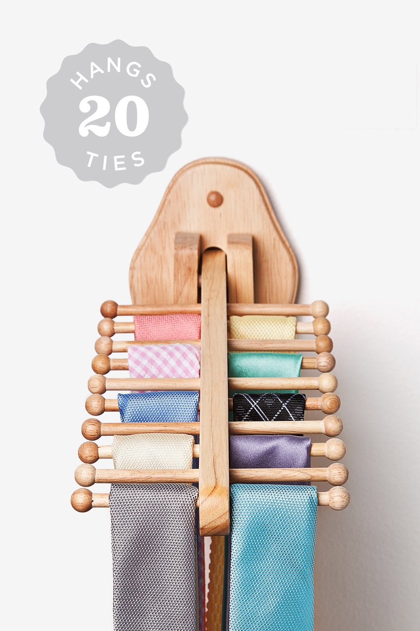 wall mounted flip down natural tie rack