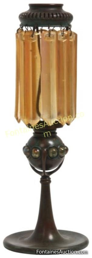 Tiffany Bronze Candle Lamp with Prisms
