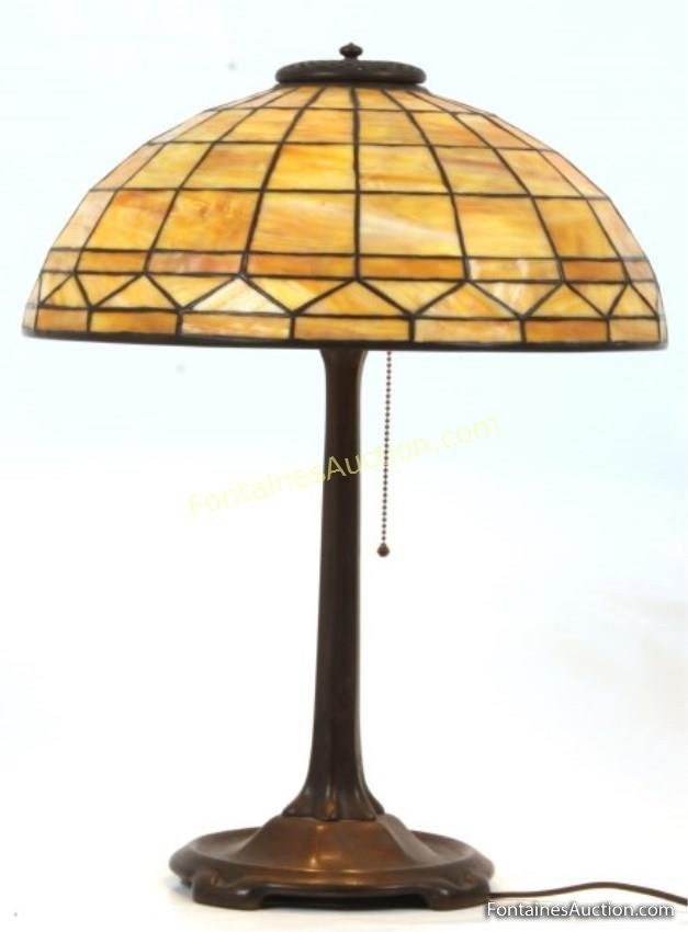 Lot 93  16 in Tiffany Studios Geometric Table Lamp