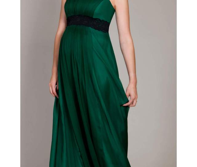 Emerald Maternity Gown With Black Lace Sash By Tiffany Rose