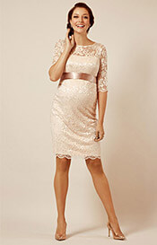 Amelia Lace Maternity Dress Short (Pearl Blush)