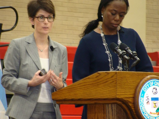 Budget Director Alex Holt (l) and Chicago Chief Financial Officer Carole Brown (r) led the three budget meetings.