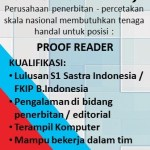 Lowongan November 2017 – Proof Reader