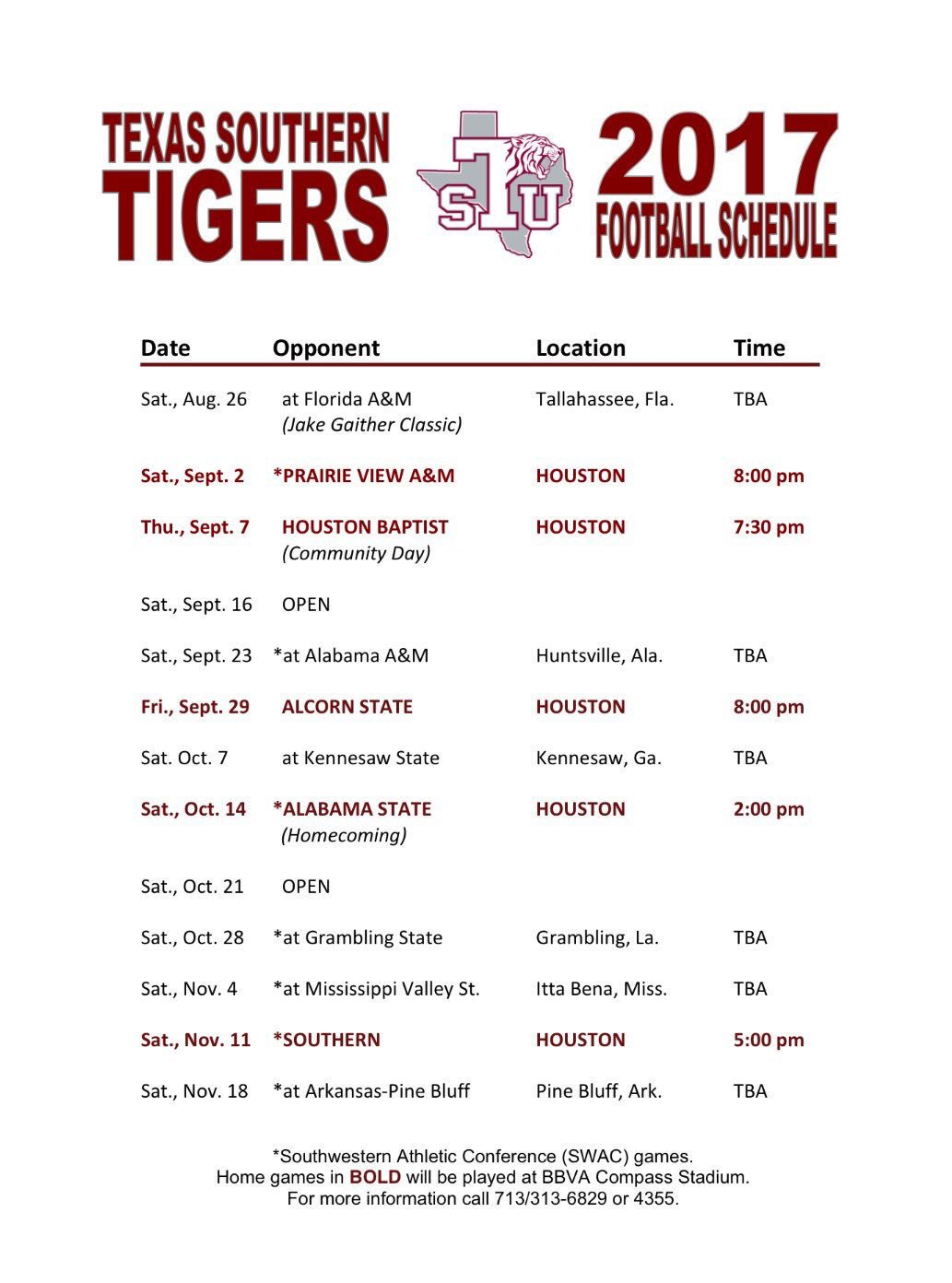 2017 Texas Southern Football Schedule - TigerFans.net