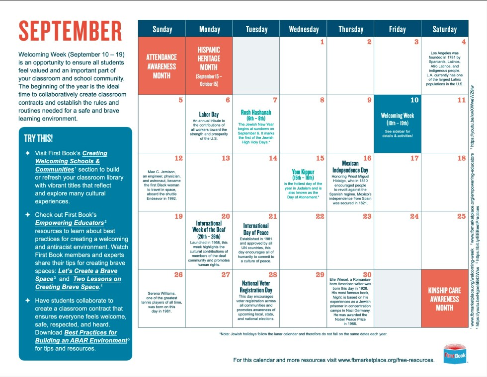 diversity and inclusion calendar