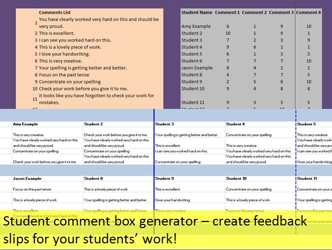 Student comment report tool – feedback slip generator