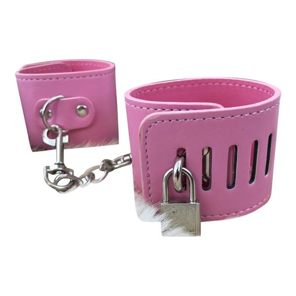 Pinke håndjern med lås og kæde