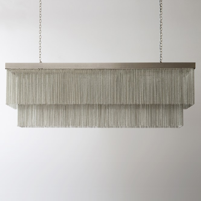 Rectangular Silver Chain Chandelier With Flat Nickel Unlit