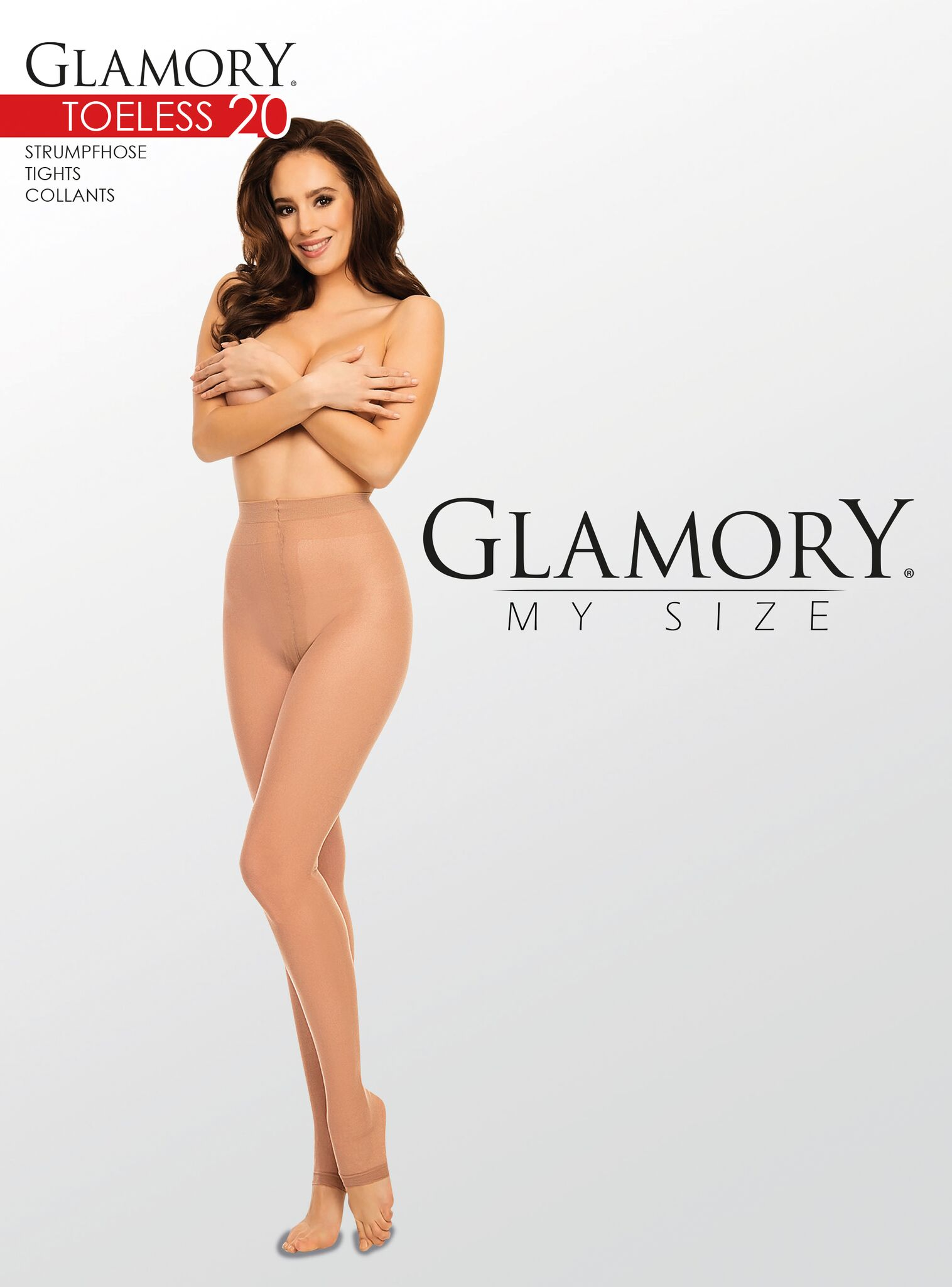 Glamory Toeless 20 - Gloss plus size tights with open toe