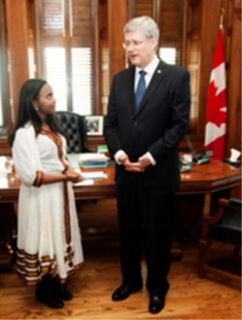 Hannah Godefa meets Canadian Prime Minister Stephen Harper