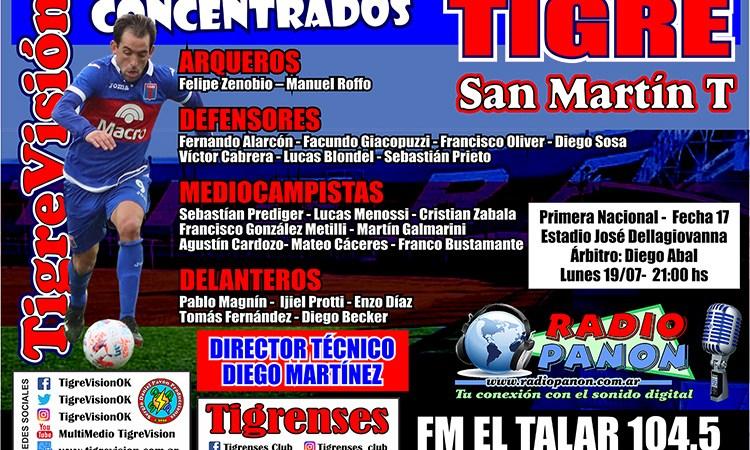 Los convocados para enfrentar a San Martín de Tucumán