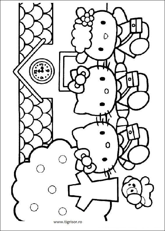 Plansa De Colorat Cu Hello Kitty Si Prietenele Tigrisorro