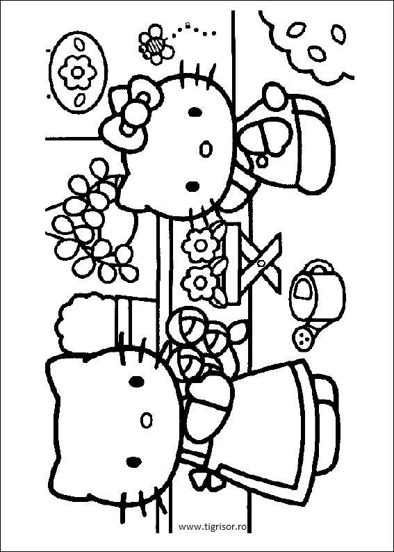 Plansa De Colorat Cu Hello Kitty Si Mamica Ei Tigrisorro