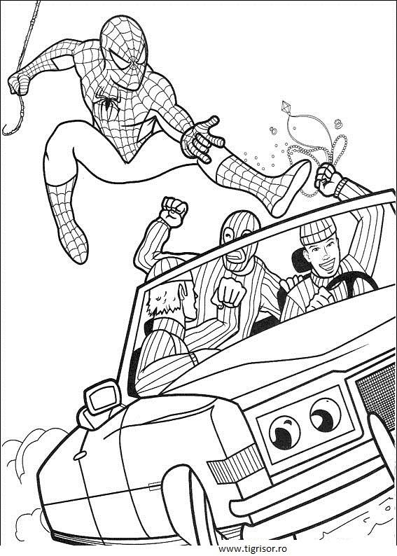 Plansa De Colorat Cu Spiderman Zburand Peste Masina