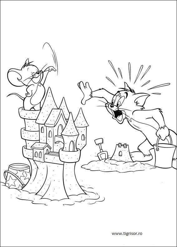 Plansa De Colorat Cu Tom Si Jerry Langa Castelul De Nisip