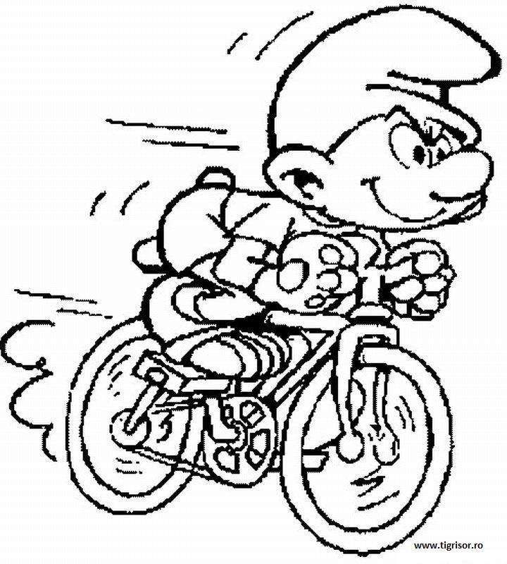 Plansa De Colorat Cu Strumful Morocanos Pe Bicicleta