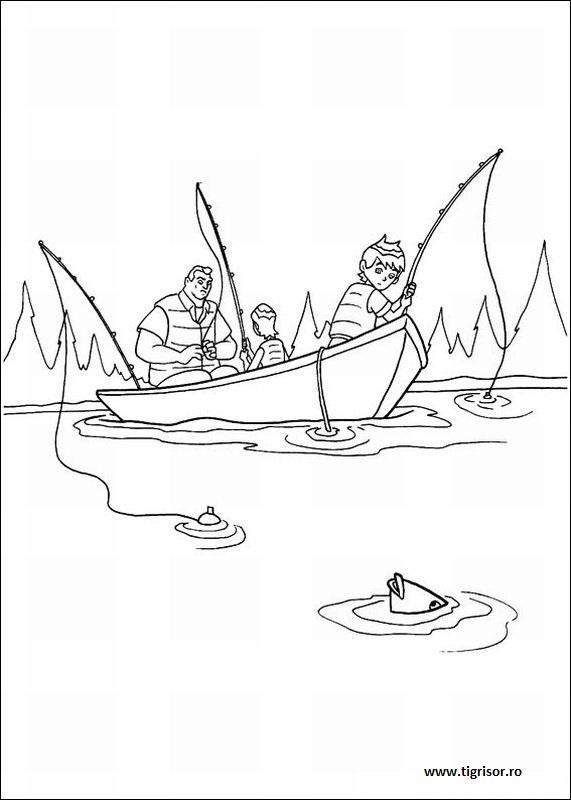 Plansa De Colorat Cu Ben In Barca Tigrisorro